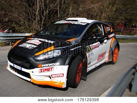 San Romolo Italy - 11 April 2015 to 62 ° Sanremo Rally Of: The Ford Fiesta WRC crew Baccega-Ottaviani, shooting in the race dutante test speed 'called Bignone.