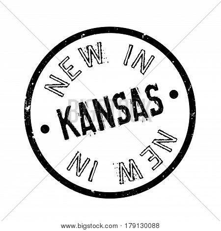 New In Kansas rubber stamp. Grunge design with dust scratches. Effects can be easily removed for a clean, crisp look. Color is easily changed.