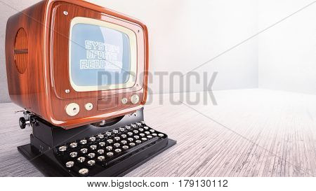 concept old computer typewriter system upgrade laptop vintage 3D illustration rendering