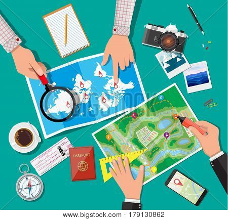 Table with paper map and compass. Marker and magnifying glass in hands. Passport, ticket. Photo camera, smartphone, pen. Planning trip. Vector illustration in flat style