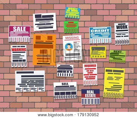 Various tear off papers ad on on brick wall. Advertisement and announcement, sell, rent, missing human, credit, work, money. Vector illustration in flat style