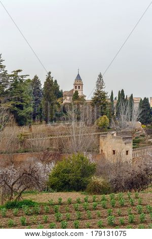 View of St Mary Church of the Alhambra from Generalife garden Spain