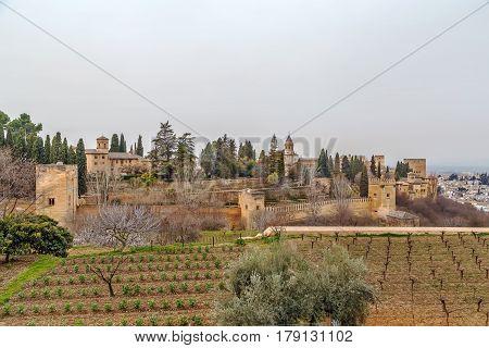view of Alhambra from Generalife garden Granada Spain