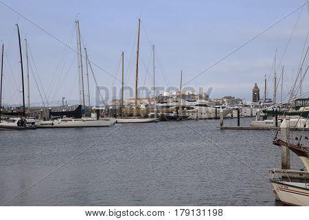 San Francisco, California, USA - August 20 2016: Boats moored in the Marina at San Francisco, USA