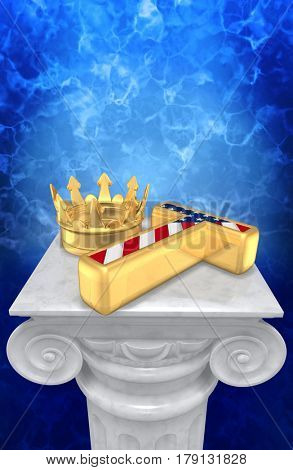 The King Of America Collapsed 3D Illustration