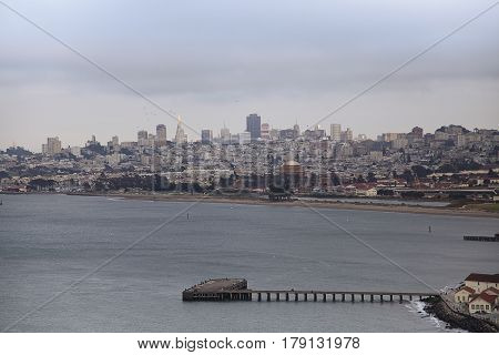 San Francisco, California, USA - August 20 2016: A view of the city skyline from the Golden Gate Bridge, San Francisco, USA