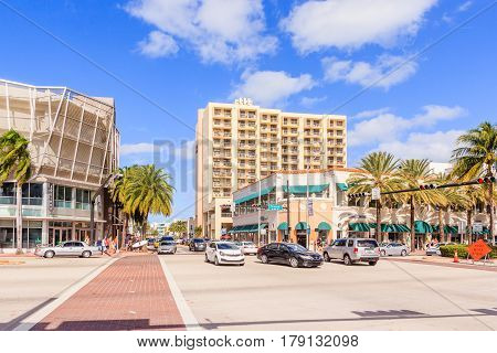 MIAMI FLORIDA - JANUARY 02 2017: View along Ocean Drive along South Beach Miami in the historic Art Deco District with hotels restaurant and bar