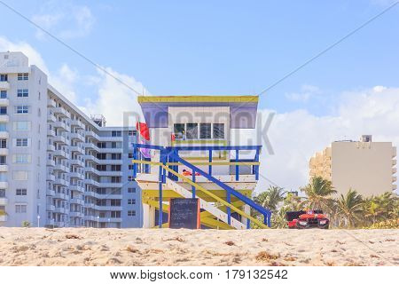 Lifeguard Tower in South Beach Miami Beach Florida