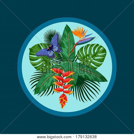 Tropical bouquet with flowers, leaves and butterfly. Tropic floral composition. Mock up for postcards.