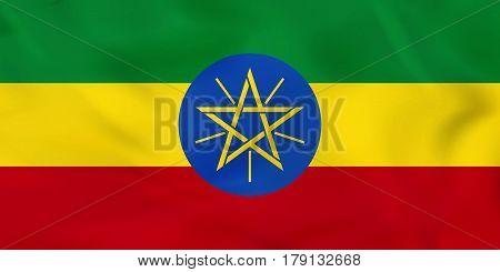 Ethiopia Waving Flag. Ethiopia National Flag Background Texture.