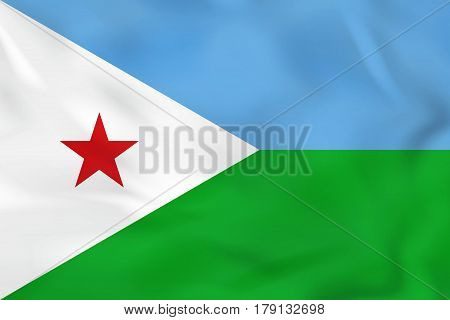 Djibouti Waving Flag. Djibouti National Flag Background Texture.