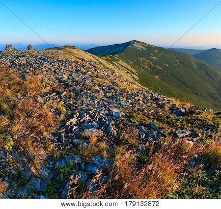 Summer Morning Carpathian Mountains.