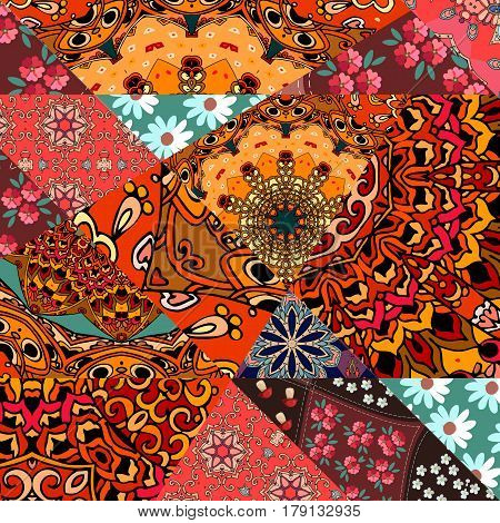 Festive patchwork pattern in indian style with flower - mandala, daisies and abstract prints. Bright vector illustration. Hippie design. Blanket, wrapping, pillowcase.