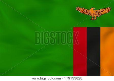 Zambia Waving Flag. Zambia National Flag Background Texture.