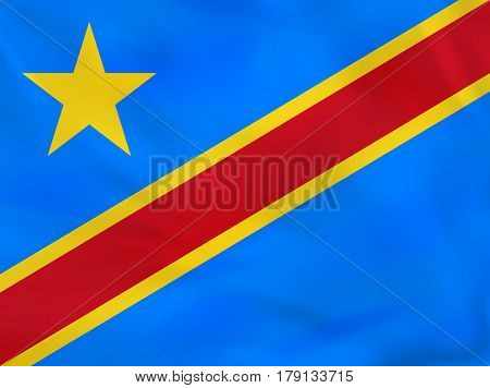 Dr Congo Waving Flag. Drc National Flag Background Texture.