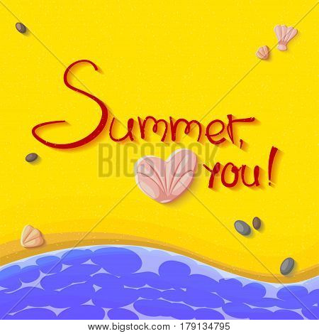 Wonderful handwritten vector illustration with sign Summer love you. Perfectly suitable for summer card design elements. Sun and inscription cast a shadow on the beach. Sea sand happiness rest.