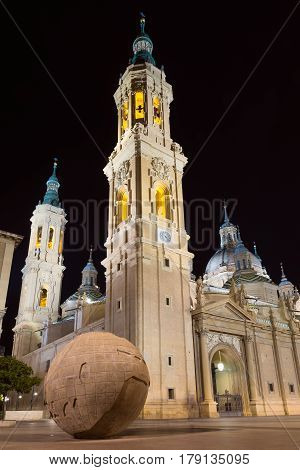 Basilica of Our Lady of the Pillar. Night view