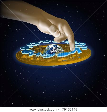 Astrology signs of the zodiac Virgo in space with hand