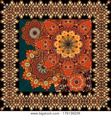 Beautiful carpet or tablecloth with flower mandala and ornamental frame in indian style. Summer design. Greeting card, wedding invitation.