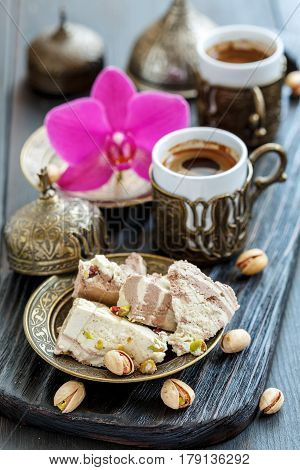 Tahini Halva With Pistachios, And Turkish Coffee.