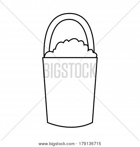 bucket with dirt gardening tools icon image vector illustration design