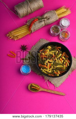Colorful Dried Fusilli Pasta And Bunch Of Spaghetti