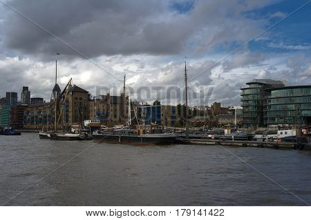 view of buildings on river thames in london