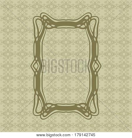 Art Nouveau elegant smooth lines decorative rectangle vector frame for design. Art Deco style fine border ornament