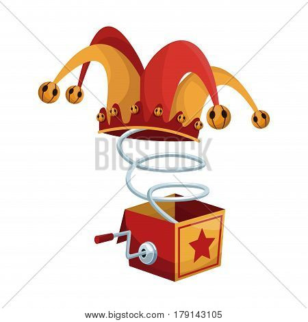 Surprise Box with Funny Joke icon over white background. april fools day concept. colorful design. vector illustration