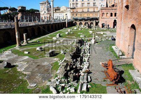 Ruins of Trajan's Forum in Rome Italy