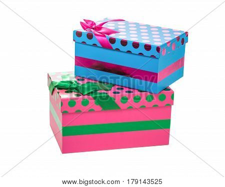 decorative boxes or presents isolated on white