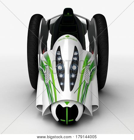 The concept of a city electric vehicle. A cost-effective vehicle. 3D illustration.