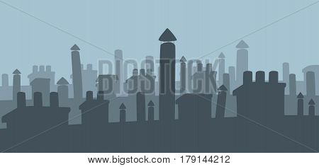 Chimneys on roofs of city houses silhouette. Night scene of city roofs. Flat vector illustration