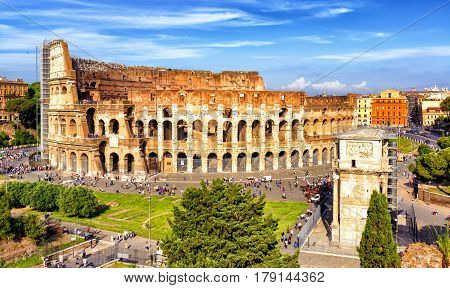 The famous Coliseum (Colosseum) in Rome, Italy