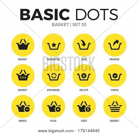Basket flat icons set with favorites, remove, check interface elements isolated vector illustration on white
