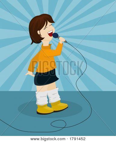 Cute Cartoon Girl Singing