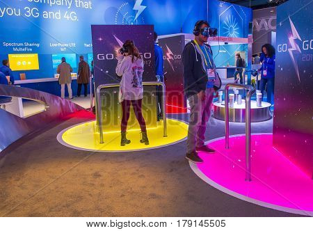 LAS VEGAS - JAN 08 : The Qualcomm booth at the CES show held in Las Vegas on January 08 2017 CES is the world's leading consumer-electronics show.
