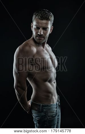 Handsome Sexy Man With Muscular Body And Serious Unshaven Face