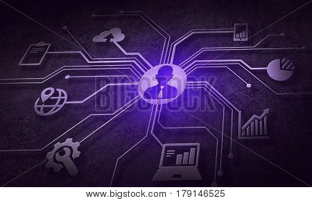 Digital background with social interaction and connection concept. 3D rendering