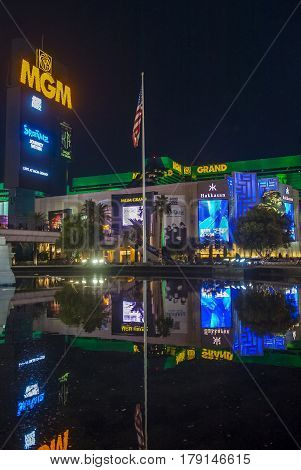 LAS VEGAS - NOV 24 : MGM hotel and casino on November 24 2016 in Las Vegas. The MGM Grand is the third largest hotel in the world and the largest hotel resort complex in the USA