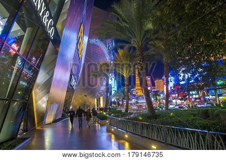 LAS VEGAS - NOV 24 : View of the strip in Las Vegas on November 24 2016. The Las Vegas Strip is an approximately 4.2-mile (6.8 km) stretch of Las Vegas Boulevard in Clark County Nevada.