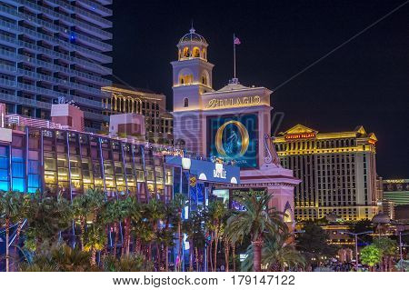 LAS VEGAS - OCT 05 : View of the strip in Las Vegas on October 05 2016. The Las Vegas Strip is an approximately 4.2-mile (6.8 km) stretch of Las Vegas Boulevard in Clark County Nevada.