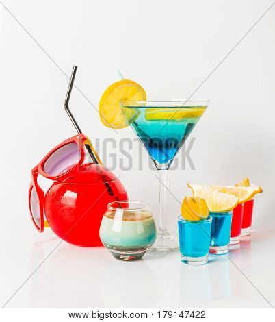 Colorful Drink In A Martini Glass, Blue And Green Combination, Four Drinks In A Shotglass, Drinks Se