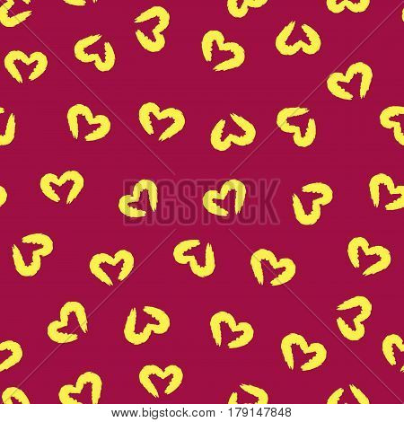 Torn silhouettes of the heart. Seamless pattern. Painted by hand with a rough brush. Grunge. Purple yellow. Vector illustration.