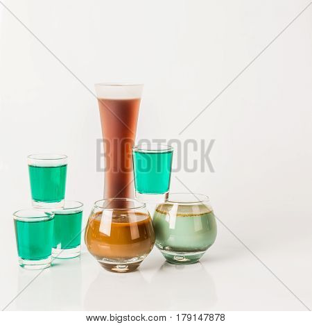 Seven Color Drink Shots, Different Glass Shapes, Green And Brown Shots