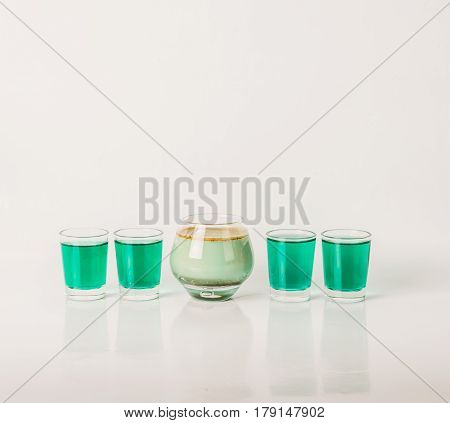 Five Color Drink Shots, Different Glass Shapes, Green And Pistachio Shots