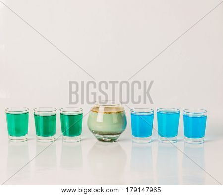 Seven Color Drink Shots, Different Glass Shapes, Blue, Green And Pistachio Shots