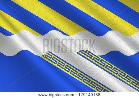 Flag of Aisne is a French department in the Hauts-de-France region of northern France. 3d illustration