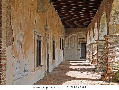 Shadowy Walkway at an Old Spanish Mission