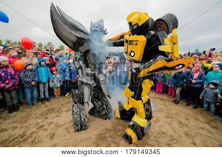 Russia. Moscow region. Balashikha - September 18, 2016 Show of transformers for children. Bumblebee and Megatron